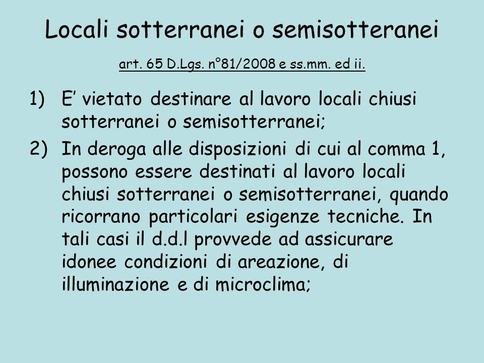 Locali sotterranei o semisotteranei art. 65 D. Lgs. n°81/2008 e ss. mm