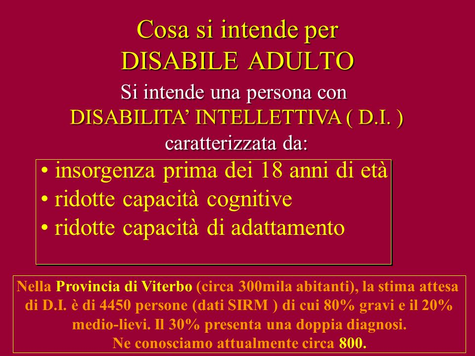 Cosa si intende per DISABILE ADULTO