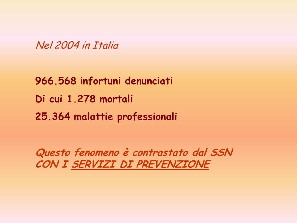 Nel 2004 in Italia 966.568 infortuni denunciati. Di cui 1.278 mortali. 25.364 malattie professionali.