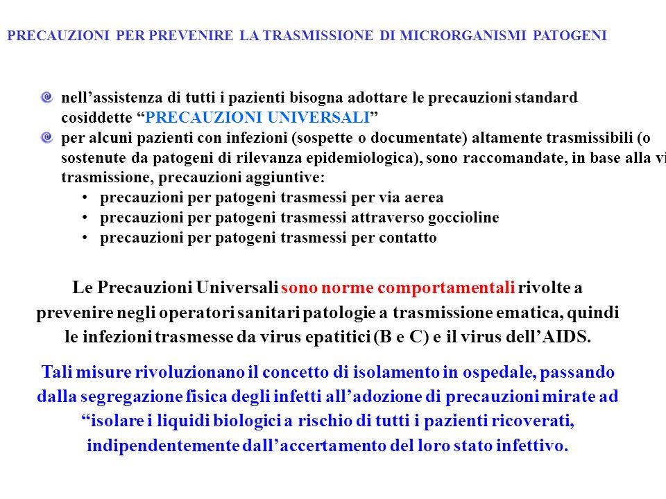 PRECAUZIONI PER PREVENIRE LA TRASMISSIONE DI MICRORGANISMI PATOGENI