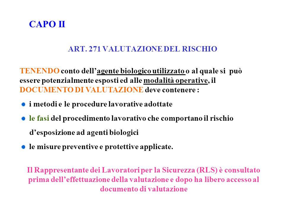 ART. 271 VALUTAZIONE DEL RISCHIO