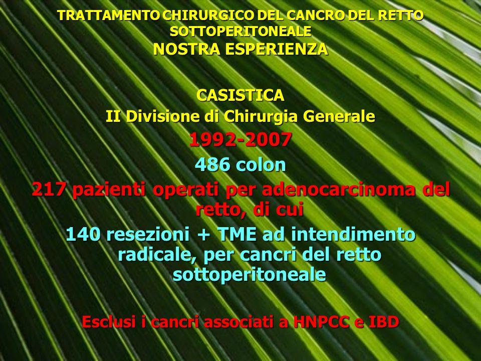 217 pazienti operati per adenocarcinoma del retto, di cui