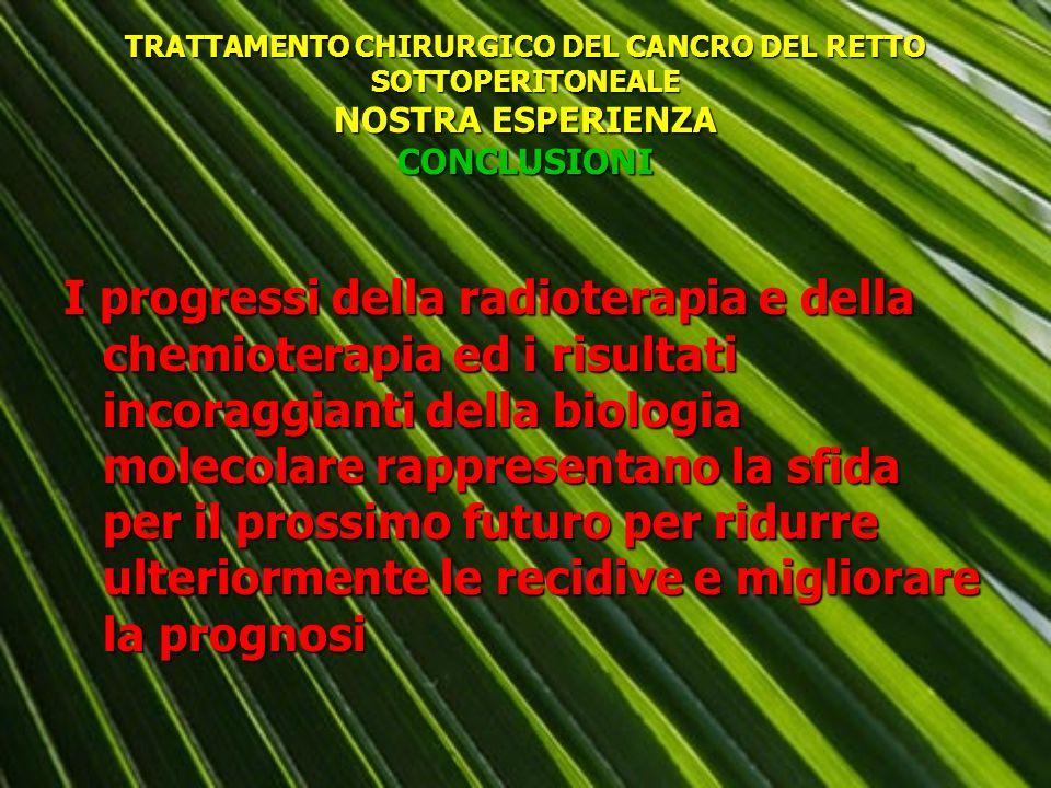 TRATTAMENTO CHIRURGICO DEL CANCRO DEL RETTO SOTTOPERITONEALE NOSTRA ESPERIENZA CONCLUSIONI