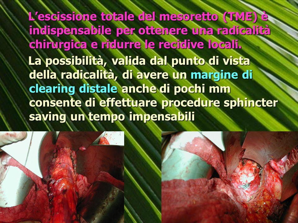 L'escissione totale del mesoretto (TME) è indispensabile per ottenere una radicalità chirurgica e ridurre le recidive locali.