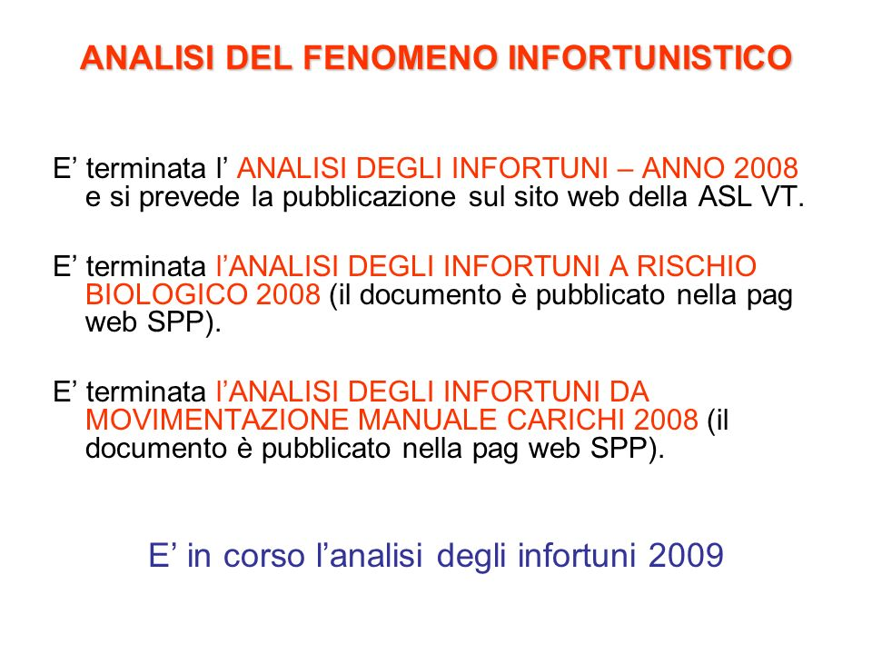 ANALISI DEL FENOMENO INFORTUNISTICO
