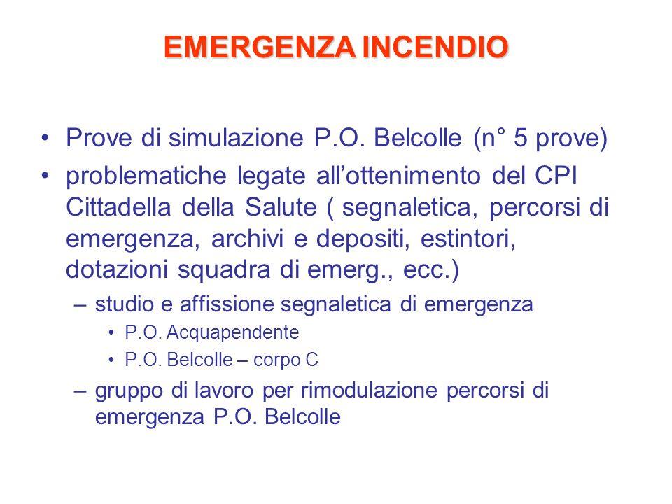 EMERGENZA INCENDIO Prove di simulazione P.O. Belcolle (n° 5 prove)