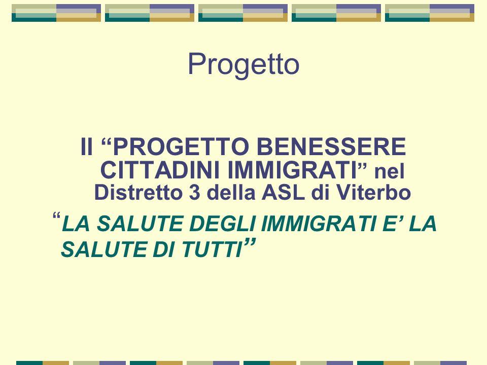 Progetto Il PROGETTO BENESSERE CITTADINI IMMIGRATI nel Distretto 3 della ASL di Viterbo.