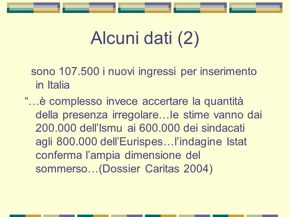 Alcuni dati (2) sono 107.500 i nuovi ingressi per inserimento in Italia.
