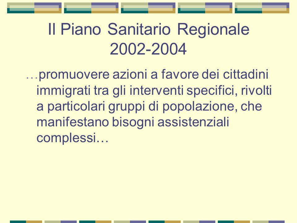 Il Piano Sanitario Regionale 2002-2004