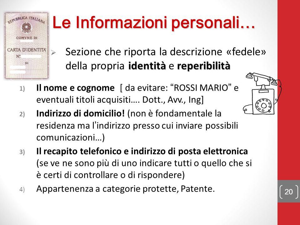 Le Informazioni personali…