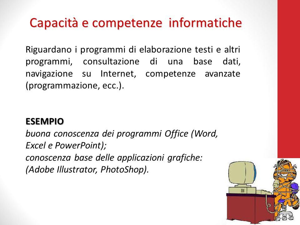 Capacità e competenze informatiche