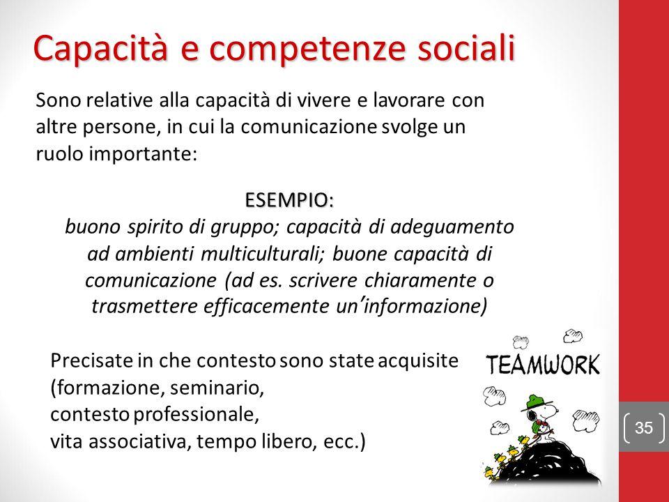 Capacità e competenze sociali