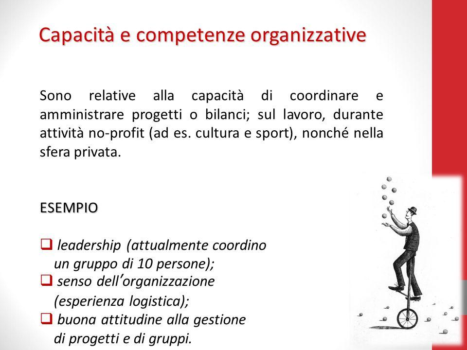Capacità e competenze organizzative