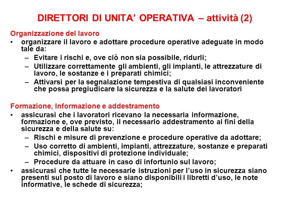 DIRETTORI DI UNITA' OPERATIVA – attività (2)