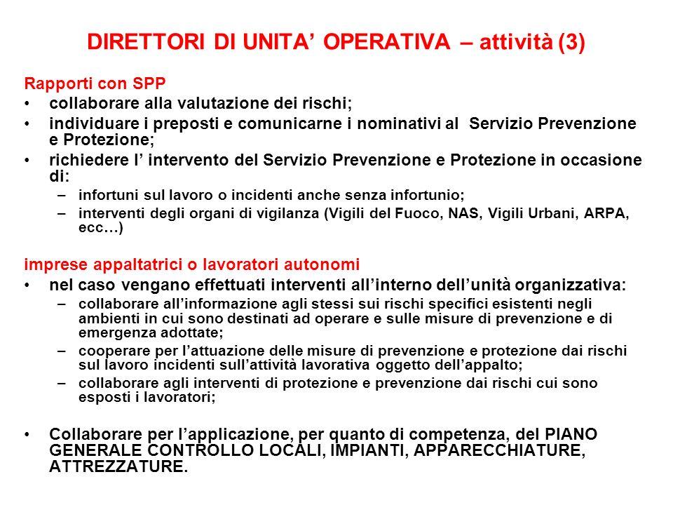 DIRETTORI DI UNITA' OPERATIVA – attività (3)