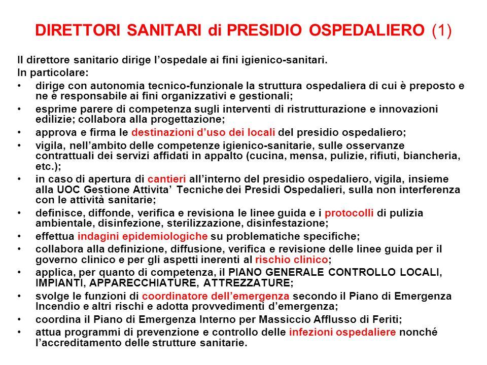 DIRETTORI SANITARI di PRESIDIO OSPEDALIERO (1)