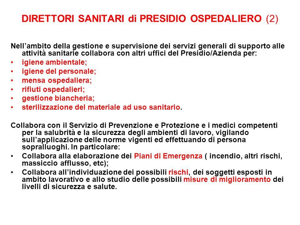 DIRETTORI SANITARI di PRESIDIO OSPEDALIERO (2)