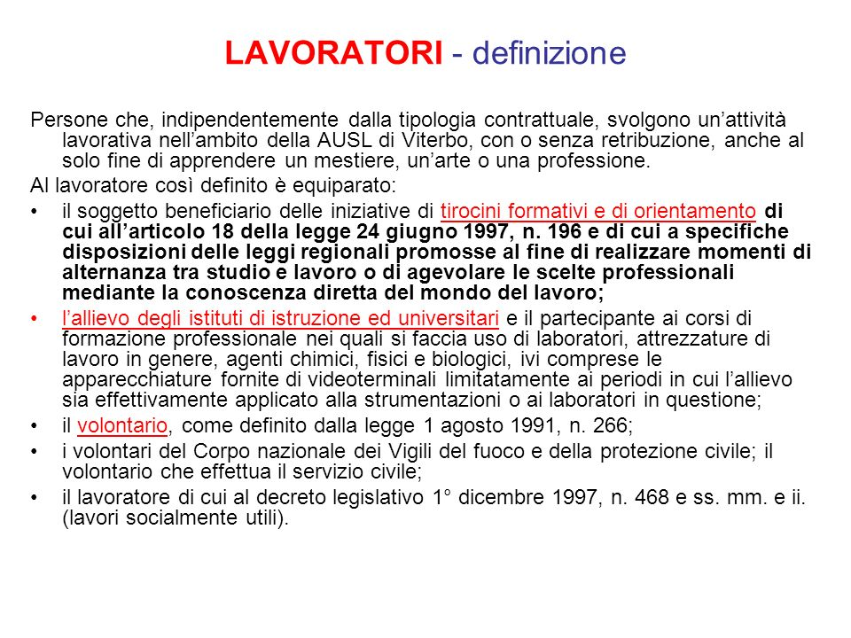 LAVORATORI - definizione