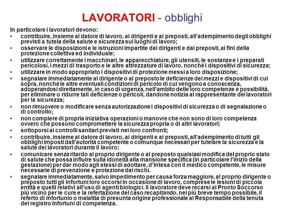 LAVORATORI - obblighi In particolare i lavoratori devono: