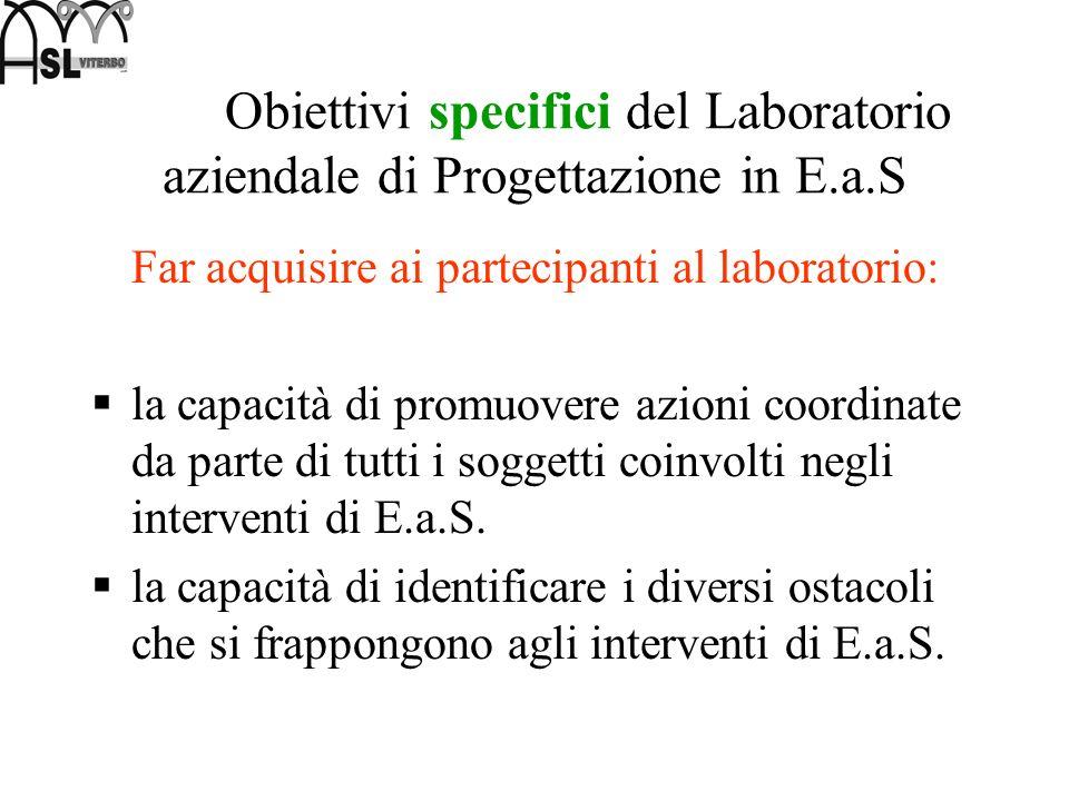 Obiettivi specifici del Laboratorio aziendale di Progettazione in E. a