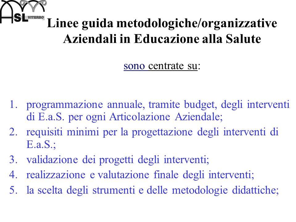 Linee guida metodologiche/organizzative Aziendali in Educazione alla Salute sono centrate su: