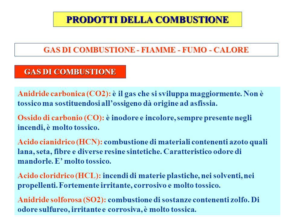 PRODOTTI DELLA COMBUSTIONE GAS DI COMBUSTIONE - FIAMME - FUMO - CALORE