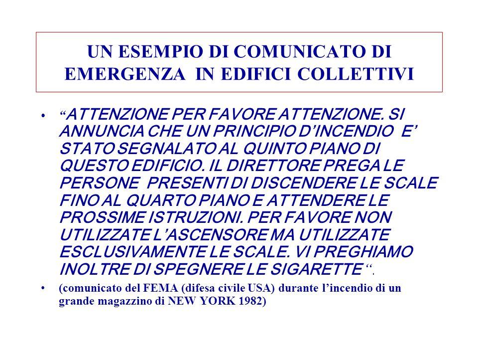 UN ESEMPIO DI COMUNICATO DI EMERGENZA IN EDIFICI COLLETTIVI
