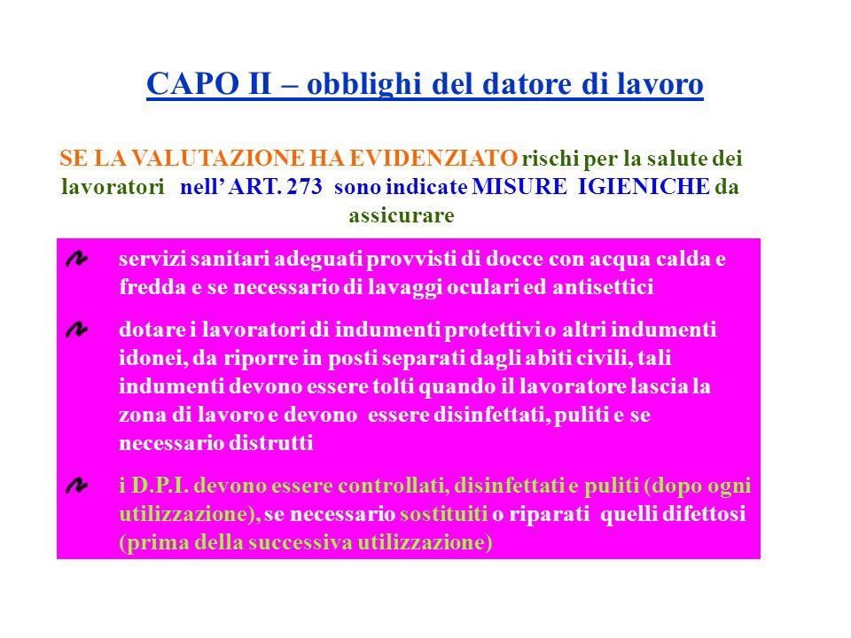 CAPO II – obblighi del datore di lavoro