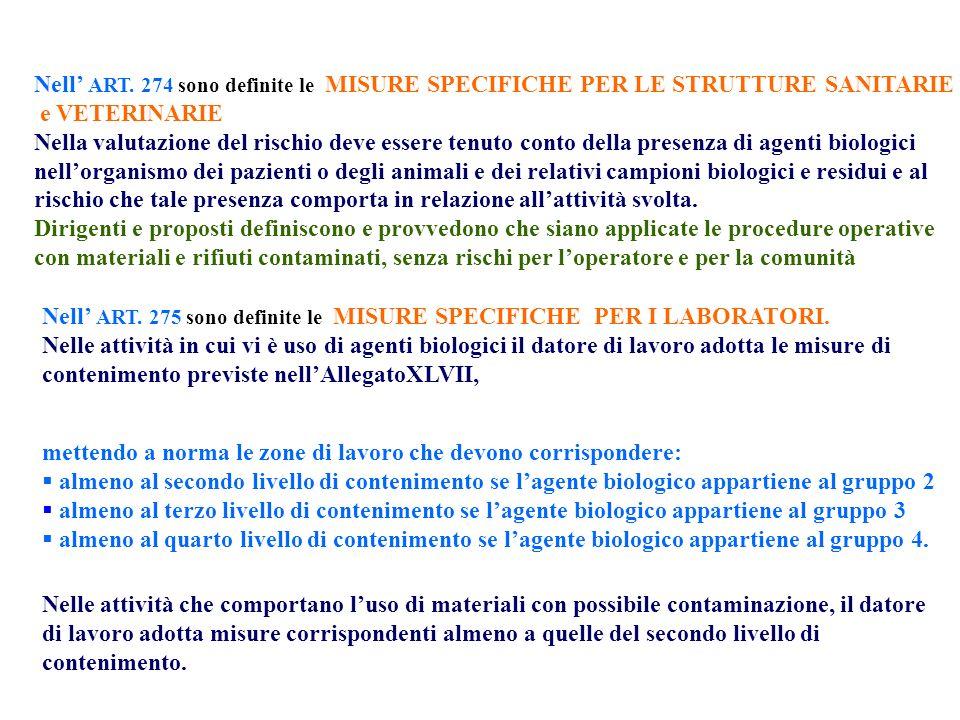 Nell' ART. 274 sono definite le MISURE SPECIFICHE PER LE STRUTTURE SANITARIE