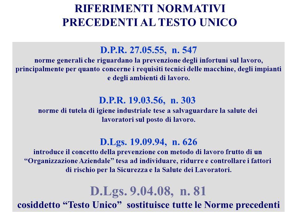 D.Lgs. 9.04.08, n. 81 RIFERIMENTI NORMATIVI PRECEDENTI AL TESTO UNICO