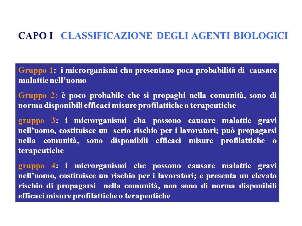 CAPO I CLASSIFICAZIONE DEGLI AGENTI BIOLOGICI