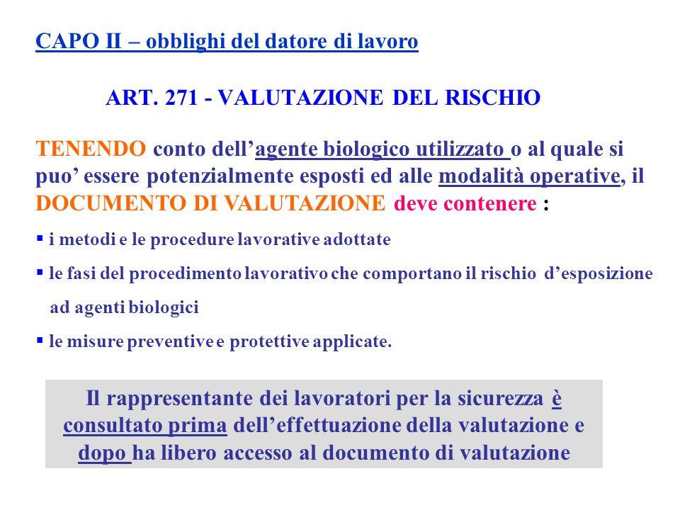 ART. 271 - VALUTAZIONE DEL RISCHIO