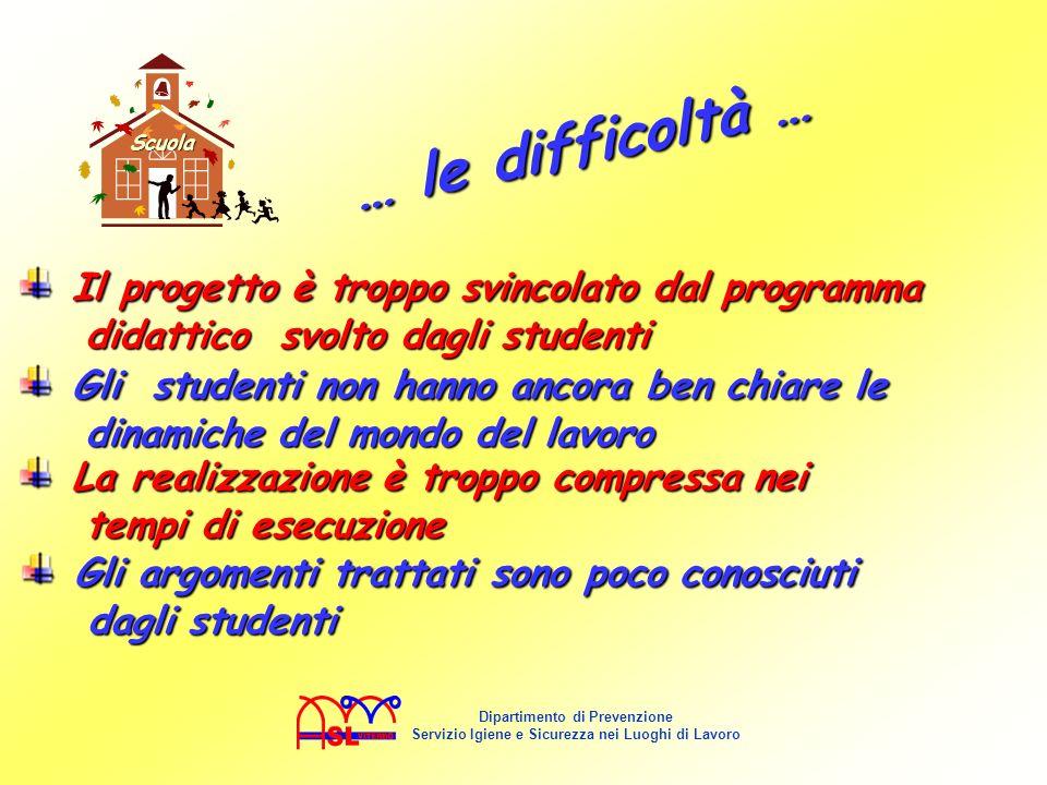 Scuola … le difficoltà … Il progetto è troppo svincolato dal programma didattico svolto dagli studenti.