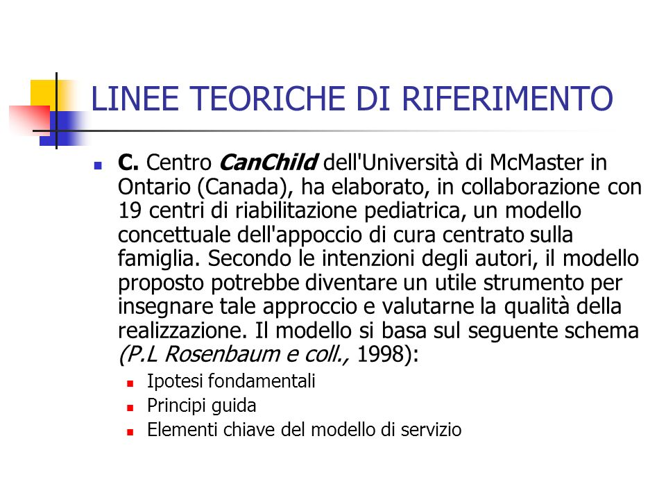 LINEE TEORICHE DI RIFERIMENTO