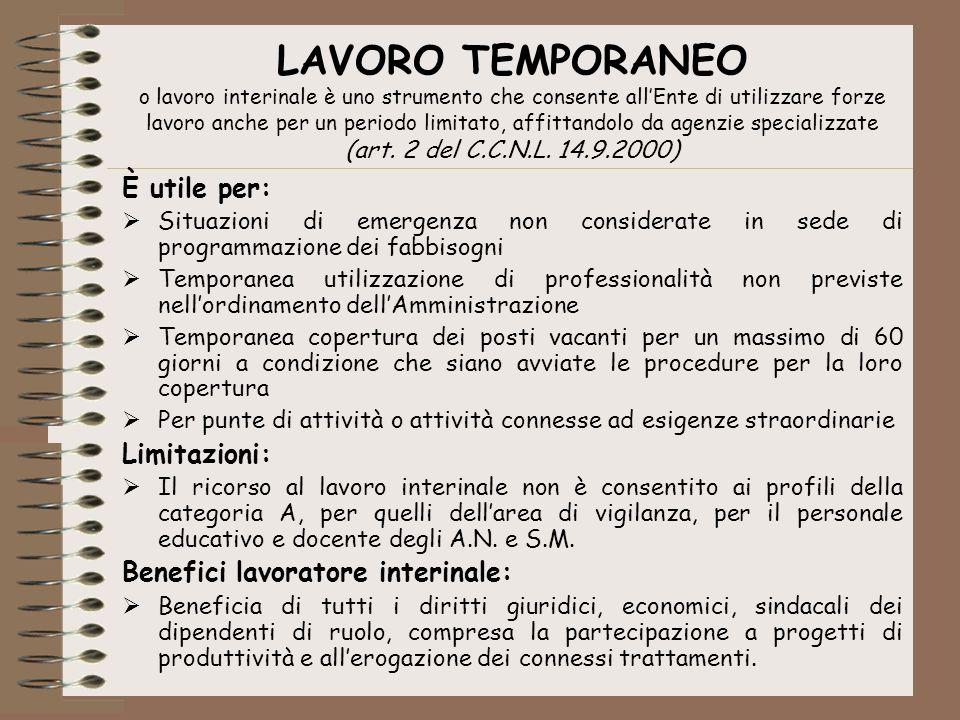 LAVORO TEMPORANEO o lavoro interinale è uno strumento che consente all'Ente di utilizzare forze lavoro anche per un periodo limitato, affittandolo da agenzie specializzate (art. 2 del C.C.N.L. 14.9.2000)