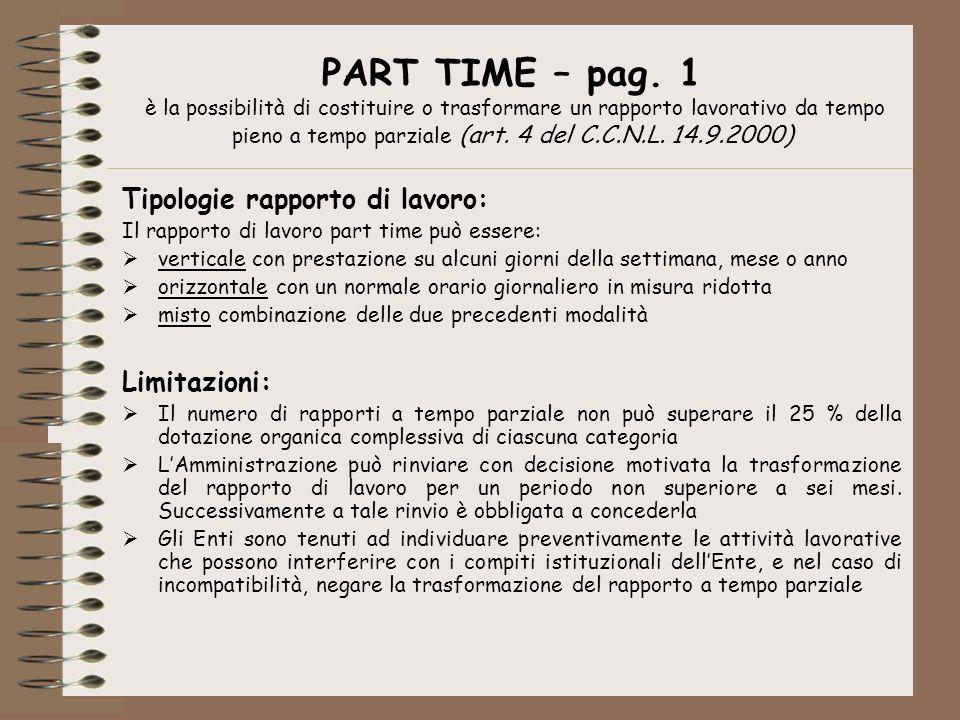 PART TIME – pag. 1 è la possibilità di costituire o trasformare un rapporto lavorativo da tempo pieno a tempo parziale (art. 4 del C.C.N.L. 14.9.2000)