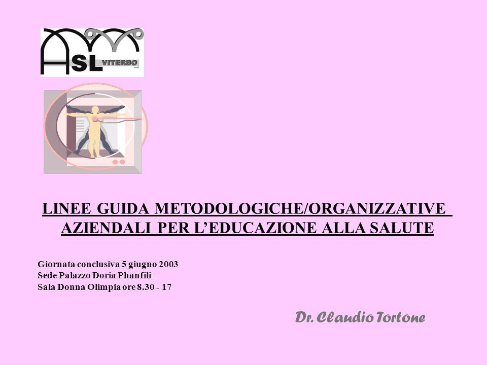 LINEE GUIDA METODOLOGICHE/ORGANIZZATIVE