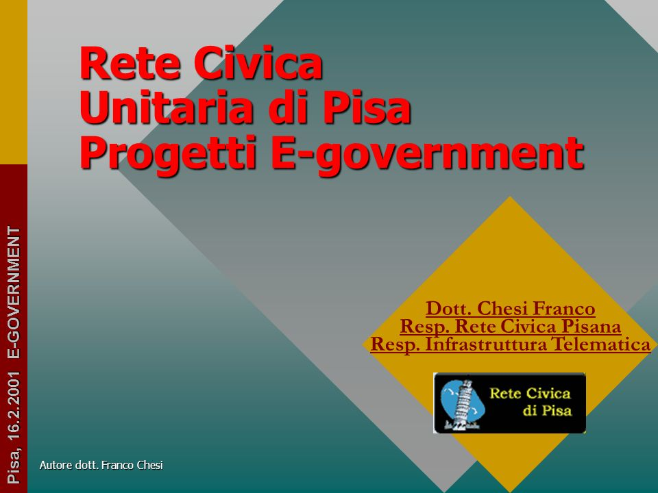 Rete Civica Unitaria di Pisa Progetti E-government