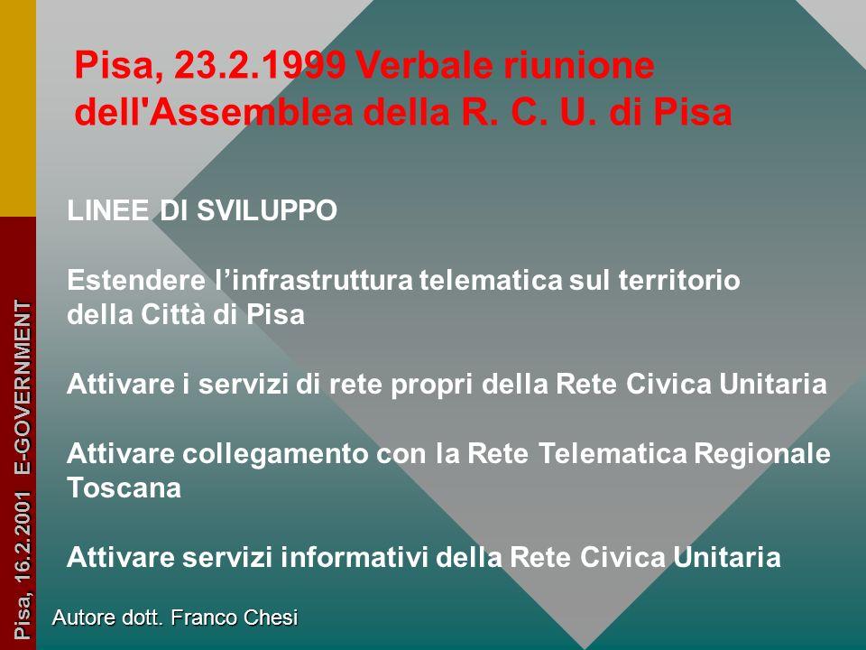dell Assemblea della R. C. U. di Pisa