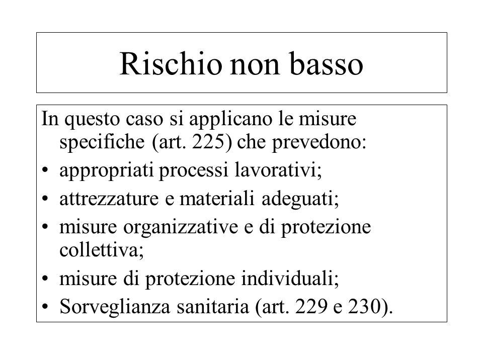Rischio non bassoIn questo caso si applicano le misure specifiche (art. 225) che prevedono: appropriati processi lavorativi;
