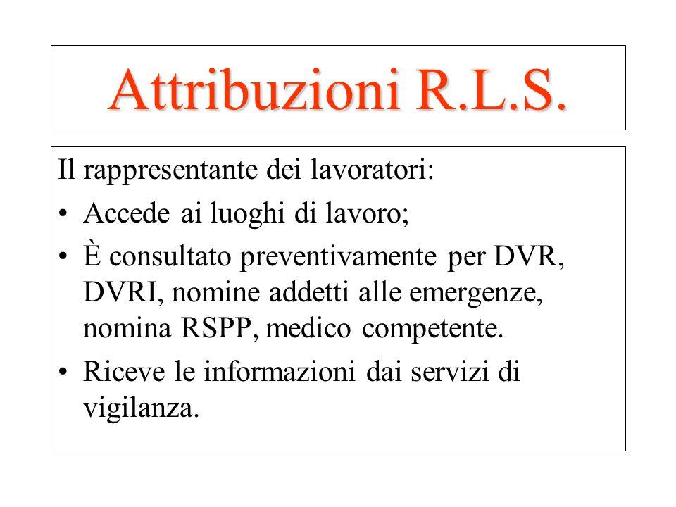 Attribuzioni R.L.S. Il rappresentante dei lavoratori: