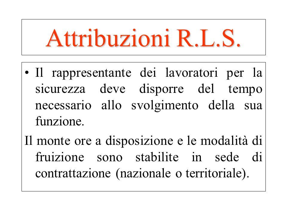 Attribuzioni R.L.S.Il rappresentante dei lavoratori per la sicurezza deve disporre del tempo necessario allo svolgimento della sua funzione.