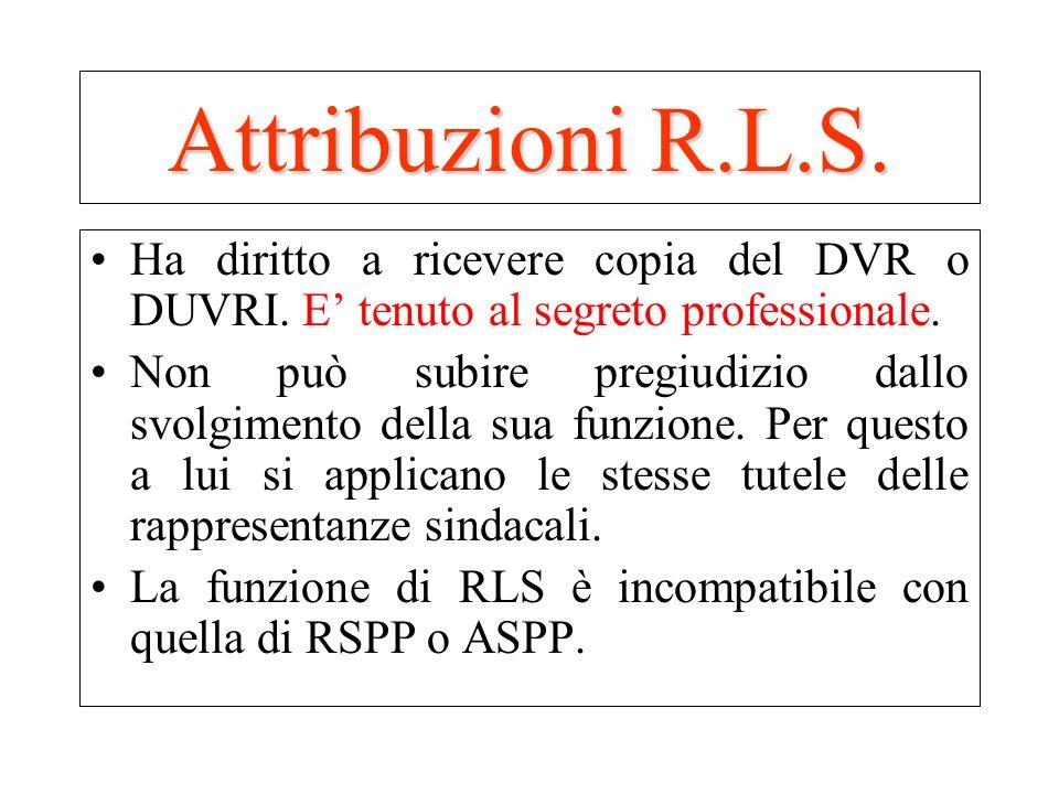 Attribuzioni R.L.S.Ha diritto a ricevere copia del DVR o DUVRI. E' tenuto al segreto professionale.