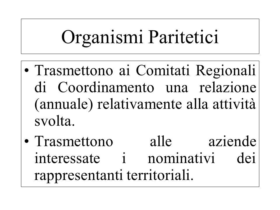 Organismi PariteticiTrasmettono ai Comitati Regionali di Coordinamento una relazione (annuale) relativamente alla attività svolta.