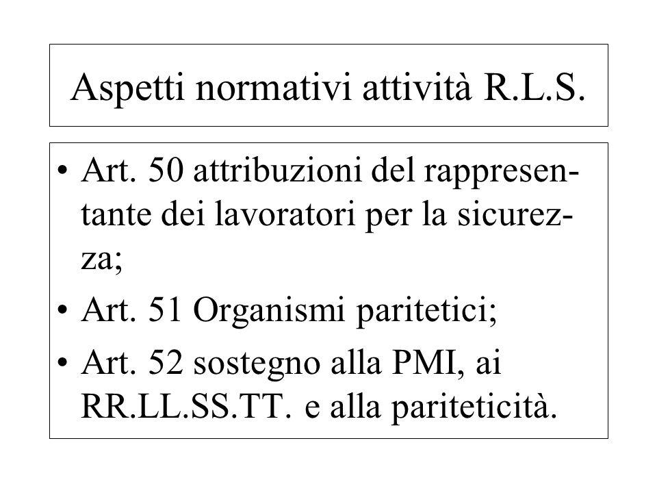 Aspetti normativi attività R.L.S.