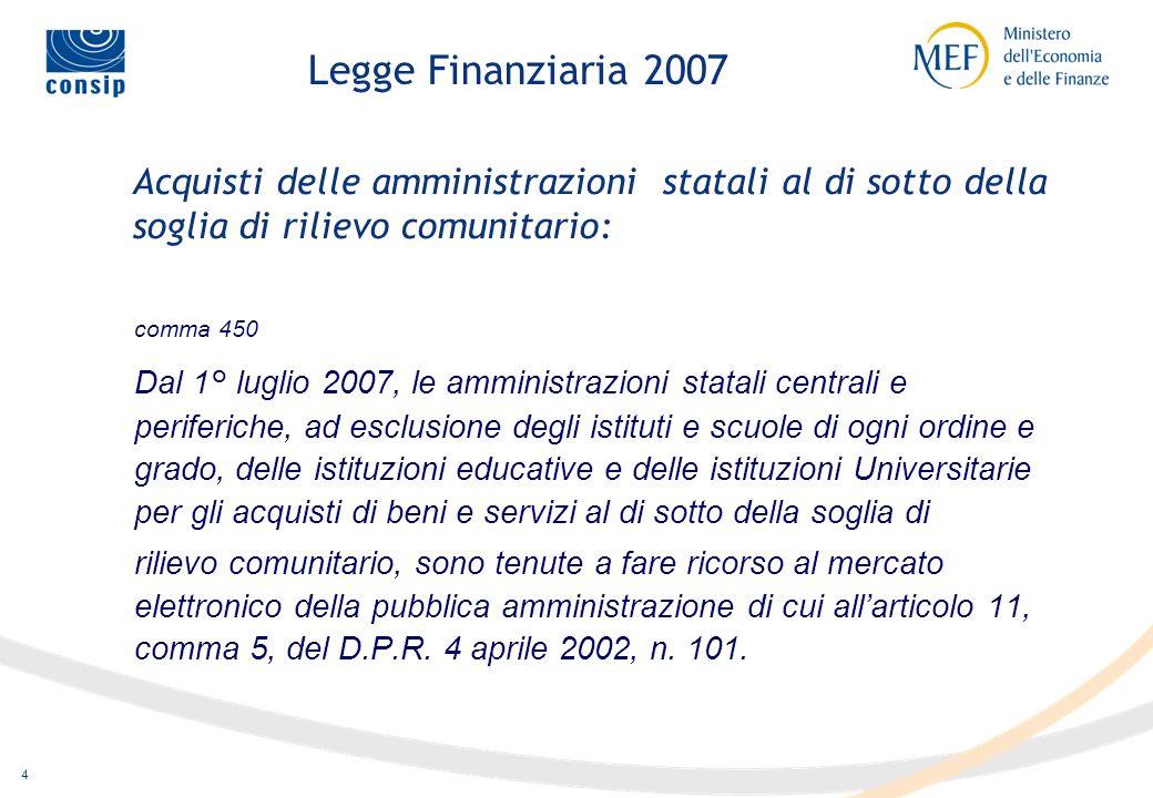 Legge Finanziaria 2007 Acquisti delle amministrazioni statali al di sotto della soglia di rilievo comunitario: