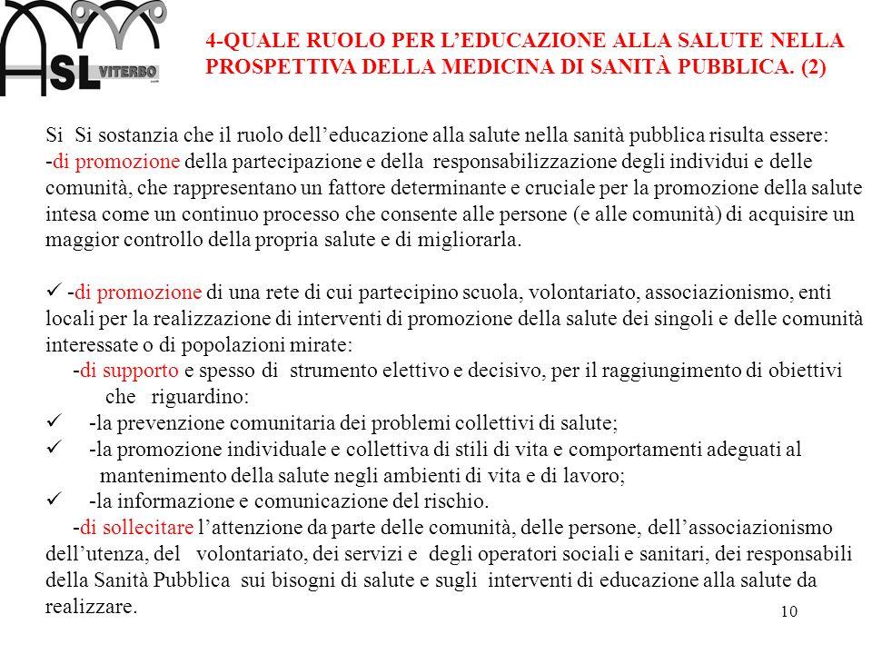 4-QUALE RUOLO PER L'EDUCAZIONE ALLA SALUTE NELLA PROSPETTIVA DELLA MEDICINA DI SANITÀ PUBBLICA. (2)