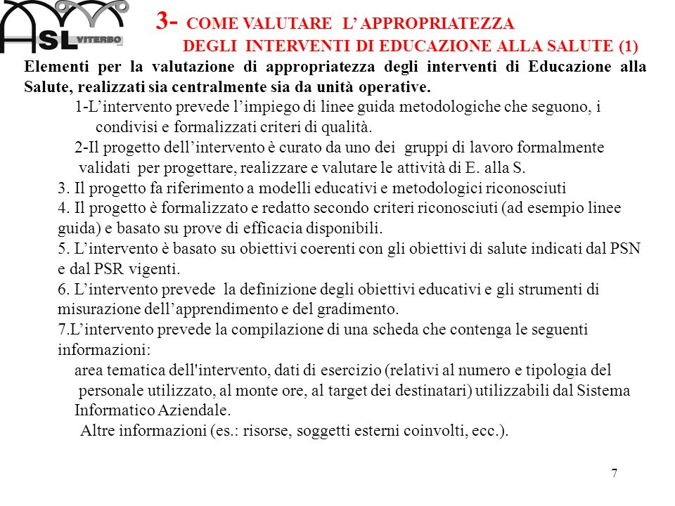 3- COME VALUTARE L' APPROPRIATEZZA