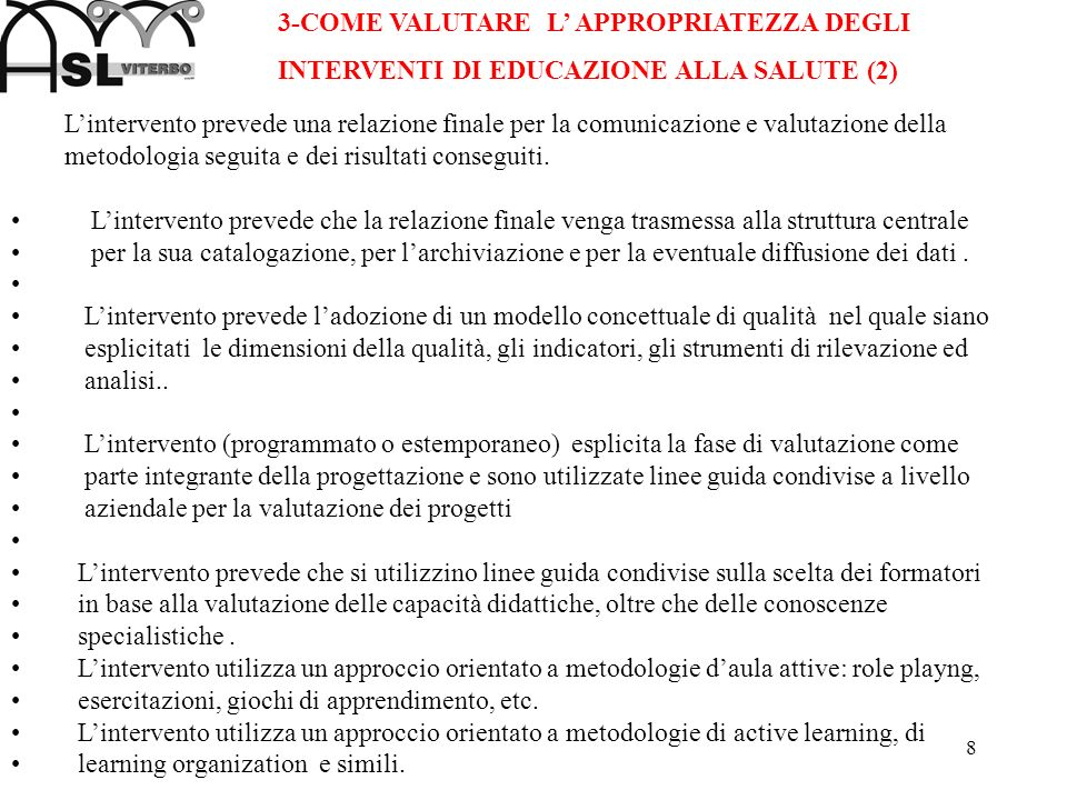 3-COME VALUTARE L' APPROPRIATEZZA DEGLI