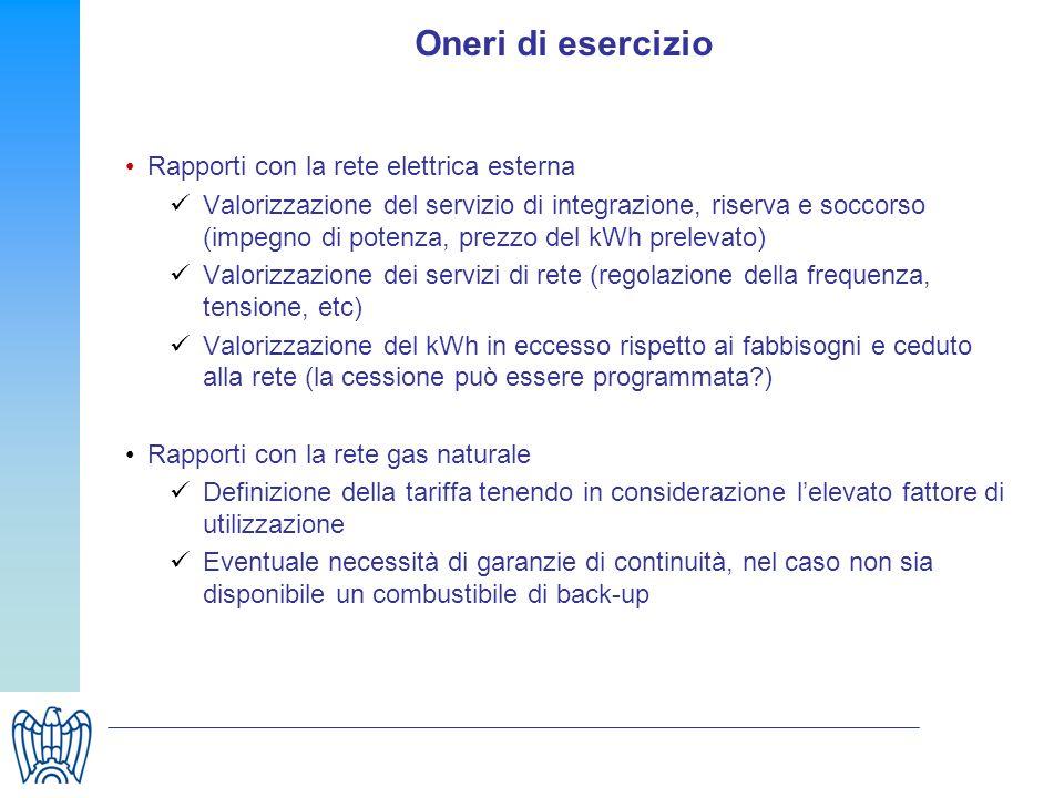 Oneri di esercizio Rapporti con la rete elettrica esterna